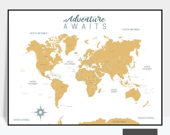 Kids world map etsy large world map with countries cities in english kids room decor play room map wall art print home decor gift travel map poster gumiabroncs Image collections