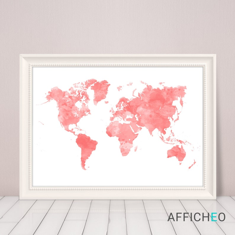Coral Color World Map Wall Art Poster Print