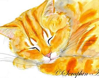 Sleeping Ginger Tabby Kitten Original Watercolor Painting