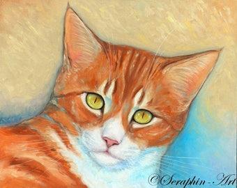Ginger Cat Original Oil Painting