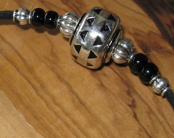 Janju necklace silver plated & glass beads on black faux suede  cord