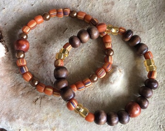 Bohemian stretch bracelet set featuring  glass & wooden earth tone beads