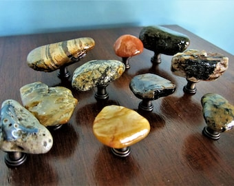 River Rock Maryland Custom Cabinet Knobs Drawer Pull Natural Stone Beach  Kitchen