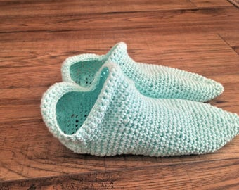 100% Cotton Baby Blue Mint Teal Light Blue Booties Socks Slippers Indoor Shoes Crochet