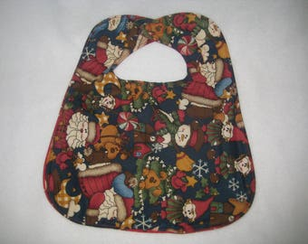 Reversible Christmas Bib ,  Baby Bib, Xmas Bib, Child's Bib, Festive Bib,  Toddler's Bib