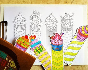 Cupcake Bookmarks - Adult Coloring Page - Valentine's Day Coloring Page - Printable bookmarks - Coloring Bookmarks - Digital Download