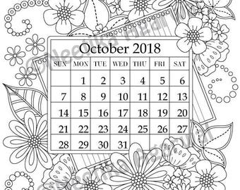 October 2018 Coloring Page