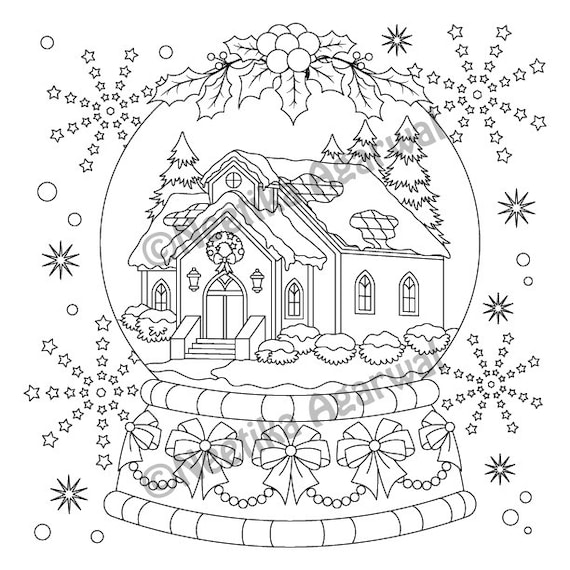 Snow Globe Adult Coloring Page Christmas Coloring Page Etsy