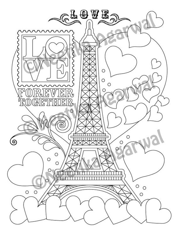 - Eiffel Tower Adult Coloring Page Valentine's Day Etsy