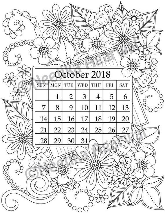 October 2018 Coloring Page Calender Planner Doodle | Etsy