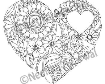 Floral Heart Valentine Adult Coloring Page Day