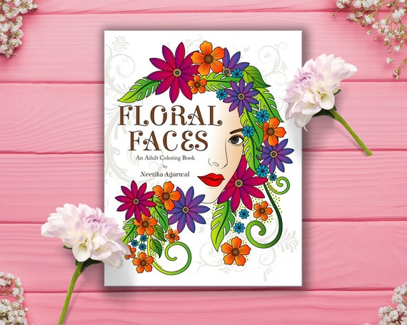 Floral Faces Adult Coloring Book Printable Coloring Book Etsy