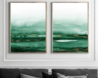 Green & Gold Watercolour Wall Art, Fine Art Print, Painting Print, Poster, Gold, Abstract Wall Art, Acrylic, Scandinavian, Minimalist, Boho