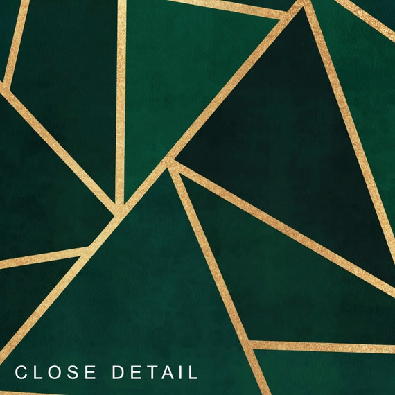 Geometric Gold /& Green Vintage Painting Fine Art Print Poster A4 A3 A2 A1