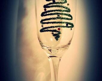 Christmas tree glitter glass