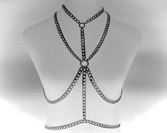 Chainmail Body Gage, Chest Harness, One Size, Fetish Clothing, Gothic, UK Seller