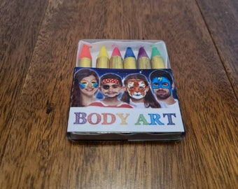 Face Paint, Body Crayon, UV-Reactivate, Neon Fluorescent Glow, Six Colours, BDSM, Humiliation Play