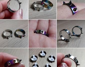 Spiky Gothic Silver or Rainbow Ring