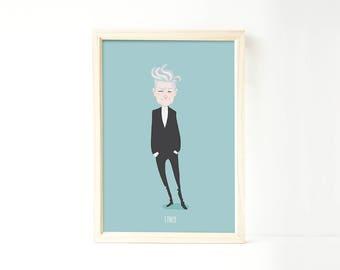 David Lynch art print drawing illustration Twin Peaks movie film director poster