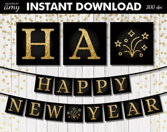 printable new years banner gold new years party new years eve party nye party new years eve digital happy new year instant download