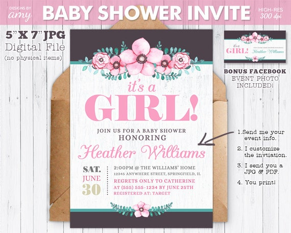Printable It S A Girl Invitation For Baby Shower Pink Etsy