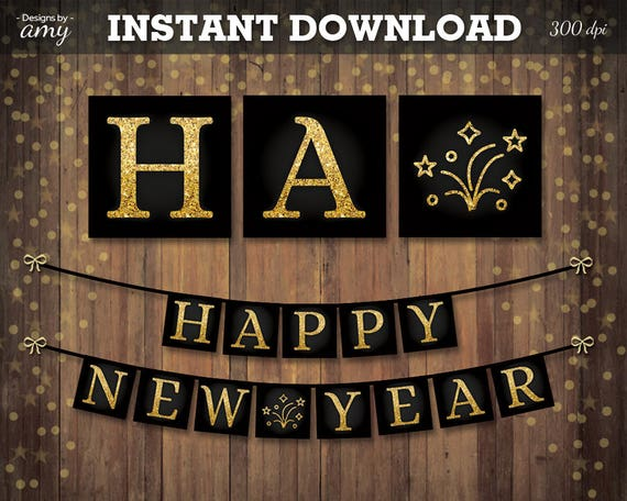 printable happy new year gold black banner with fireworks new years eve decoration