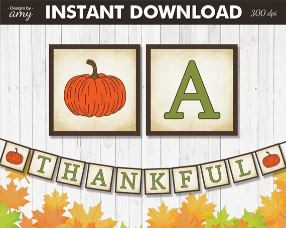 photo regarding Printable Thanksgiving Banner identified as PRINTABLE Grateful Banner, Thanksgiving Banner, Thanksgiving Decorations, Pumpkin Decoration, Tumble Decor, Autumn Decor, Prompt Down load