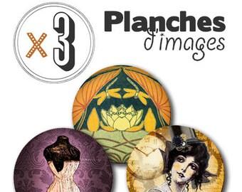 x 3 sheets of digital images for cabochons: Vintage