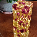 Red Clover and resin light sculpture