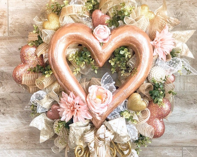 Featured listing image: Wedding Wreath, Rose Gold Wedding Decor, Rustic Glam Wedding, Anniversary gift, shower gift, champagne reception, wedding decor