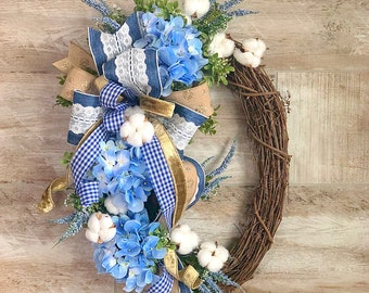 Farmhouse Wreath for Front Door, Cotton Wreath, Grapevine Floral Wreath, Rustic Decor, blue floral wreath, everyday wreath,