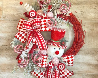 Christmas wreath, Winter Wreath, Christmas wreath for front door, hostess gift, snowman decor, Christmas door hanger, mantle wreath