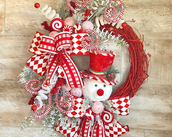 Featured listing image: Christmas wreath, Winter Wreath, Christmas wreath for front door, hostess gift, snowman decor, Christmas door hanger, mantle wreath