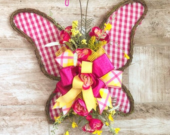 Butterfly Door Hanger, Summer Wreath For Front Door, Baby Girl Shower Present, Nursery Decoration, Butterfly Gift, Summer Floral Wall hanger