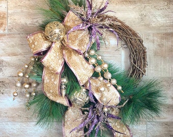 Christmas Wreath, Poinsettia Wreath, Purple Christmas wreath, Winter Wreath, Hostess Gift, Christmas Gift, Winter Decor, Winter Door Hanger