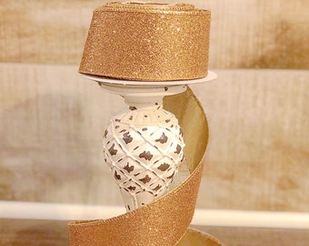 2.5 inch Rose Gold Glitter Ribbon