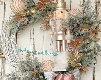 Elegant Rose Gold Nutcracker Wreath
