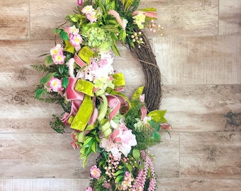 Spring Wreath For Front Door, Floral Grapevine Wreath, Gift for Mother's Day, Housewarming Gift, Wedding Wreath, pink velvet wedding decor