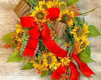 Fall Sunflower Wreath, Wreath For Front Door, Fall Wreath With Flowers, Rustic Farmhouse Wreath, Sunflower Door Hanger, Autumn Porch Decor,