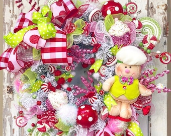 christmas wreath gingerbread wreath christmas candy wreath candyland christmas decorations winter wreath winter door christmas door - Candyland Christmas Decorations