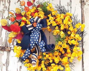 Denim and Floral Fall Wreath