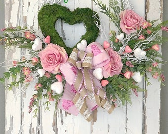 Valentine's Day Wreath, Wedding Wreath, Heart Wreath, Valentines Gift, Valentine's Day Decor,