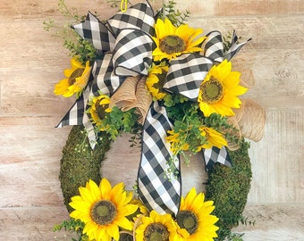 Sunflower Wreath For Front Door, Everyday Wreath, Sunflower Wedding Decor, Buffalo Plaid Door Hanger, Housewarming gift, wedding present