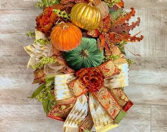 Fall Wreath For Front Door, Pumpkin Door Hanger, Velvet Pumpkin Swag, Traditional Thanksgiving Decor, Housewarming gift, Wedding Present