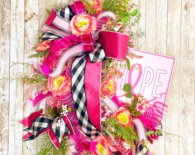 Featured listing image: Brest Cancer Awareness Wreath, Pink Ribbon Door Hanger, Cancer Awareness Ribbon Wreath