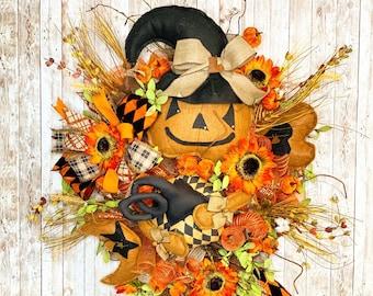 Halloween Wreath, Primitive Scarecrow Wreath, Halloween Door Hanger, Rustic Pumpkin Door Hanger, Halloween Party, Halloween home decor