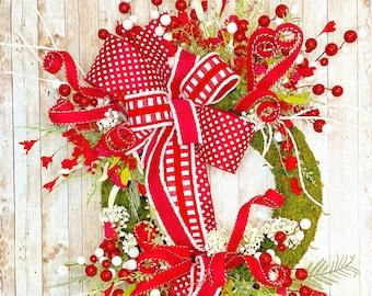 Christmas Wreath, Christmas wreath for front door, Mantle wreath, Christmas decor, Traditional Christmas decor,  Housewarming, Gift