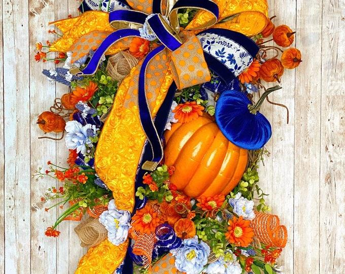 Featured listing image: Fall Door Wreath, Blue Autumn Wreath, Floral Fall Wreath, Farmhouse Fall, Clemson Fall Decor, Housewarming Gift, Thanksgiving decor