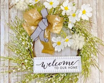 Welcome Wreath for Front Door, Welcome Door Hanger, Everyday Wreath, Farmhouse Wreath, Housewarming Gift, Wedding Present, Mothers Day Gift