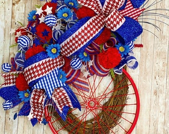 Patriotic Wreath for Front Door, Fourth Of July Decor, Americana Door Hanger, Memorial Day Decor, Independence Day Wreath, Red white blue